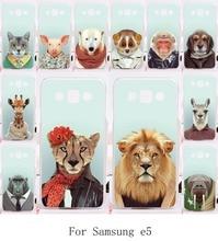 High Quality Phone Covers For Samsung Galaxy E5 E500 SM-E500F E500H Cases Animals Printed Hard Plastic and Soft TPU Skin Shell