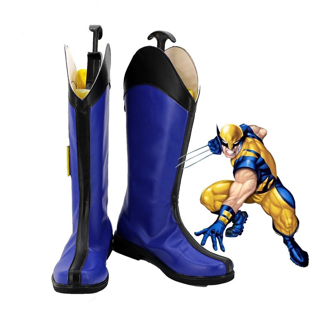 Xmen Logan Men Cosplay Blue Shoes Boots Customized Size