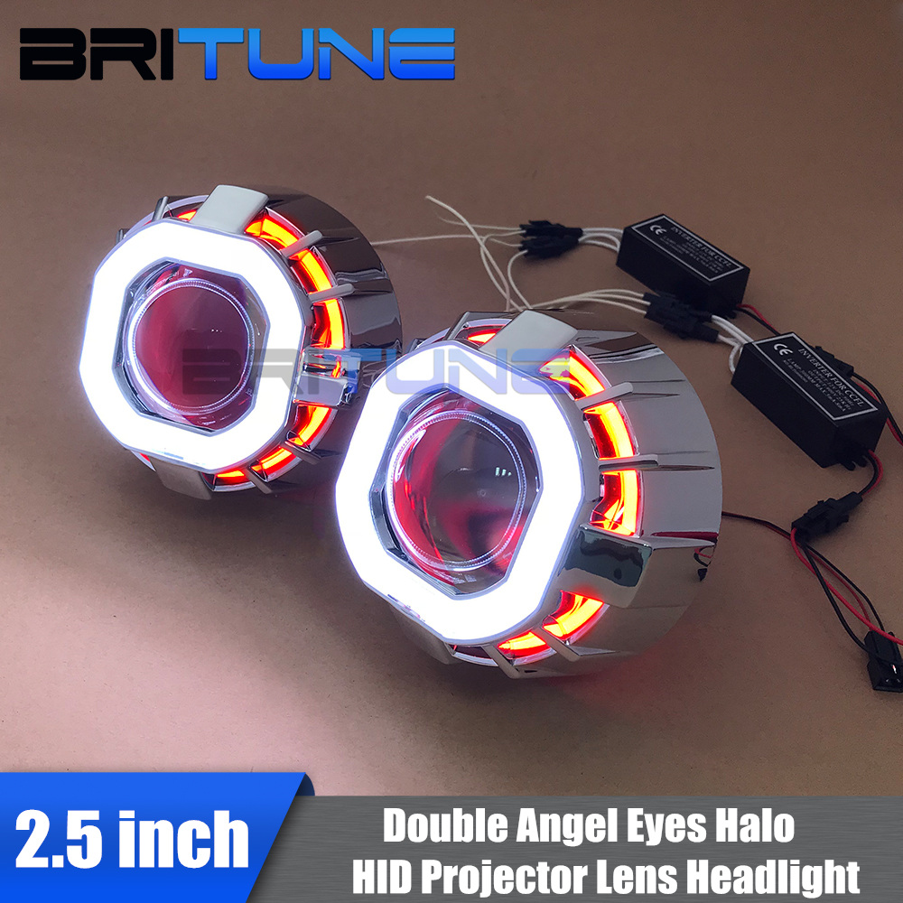 Headlight Lenses Bi xenon HID Projector Lens 2 5 Dual Square Angel Eyes CCFL DRL For