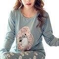 Pijamas da forma Das Mulheres 2017 Das Mulheres Do Sexo Feminino Pijamas Casual Letra Impressa Pijamas Dois Conjuntos de Algodão Dos Desenhos Animados do Kawaii Bonito Roupão de Banho Terno