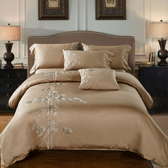 4pcs 100% Cotton 60S Sateen Fabric Camel Color Duvet Cover Set With Bamboo  Embroidery Bedding