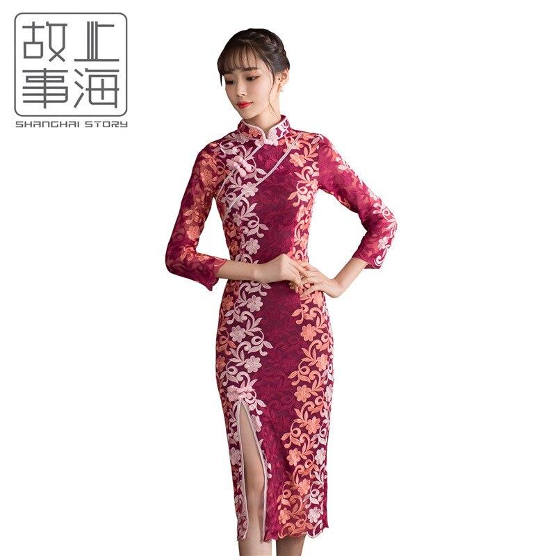 История Шанхай 2018 новый Cheongsam Китайский стильное платье традиционное китайское платье Кружева середине рукава платье Ципао красный