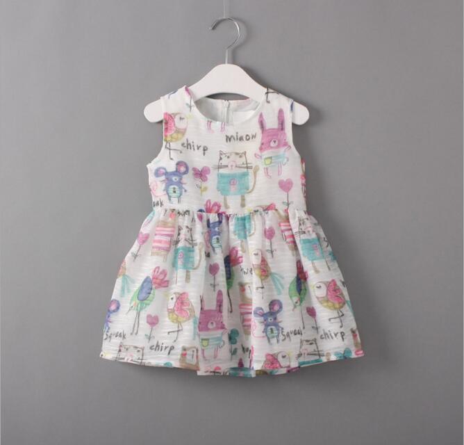 2016 Summer Girls Cartoon Animal Graffiti Drawing Dress Children Sleeveless Vest Dresses Baby Cotton Party Mini