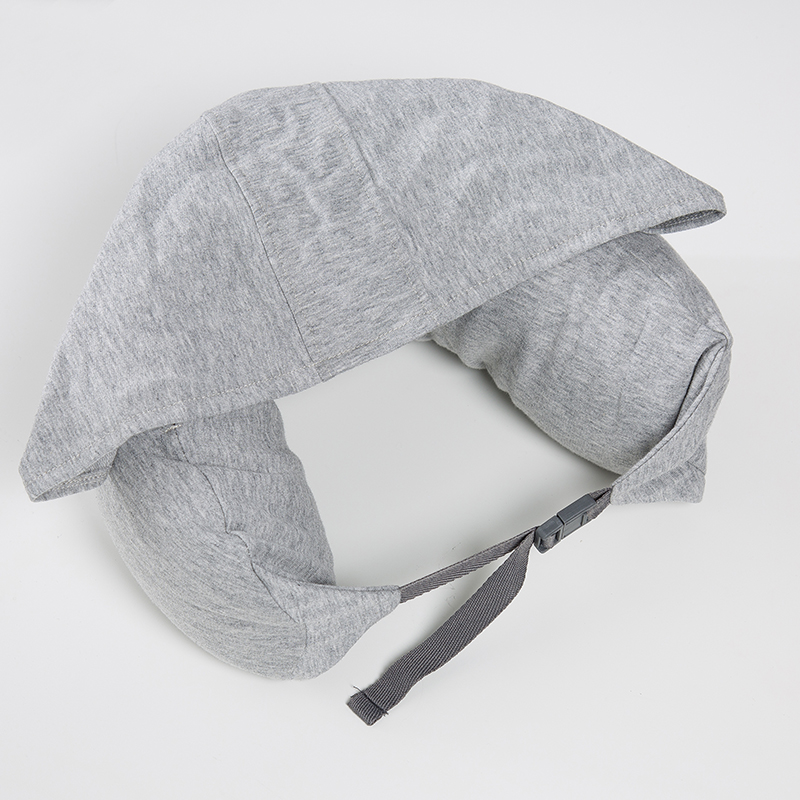 Simple Grey 1Pcs Hooded Travel Neck Cushion U-Shaped Pillow Home Textile Travel Car Cushion Nap Airplane Pillow Comfortable
