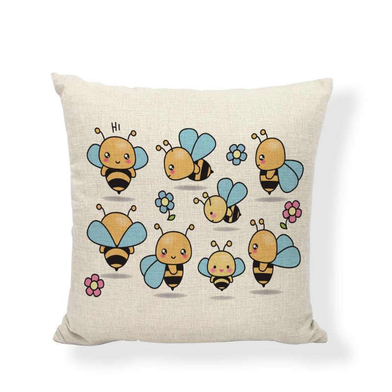 Śliczne Axolotl obicia na poduszki pszczoła świnia Fox nadruk lniana 45*45cm poszewka Home sofa do salonu poduszka na krzesło dekoracje akcesoria