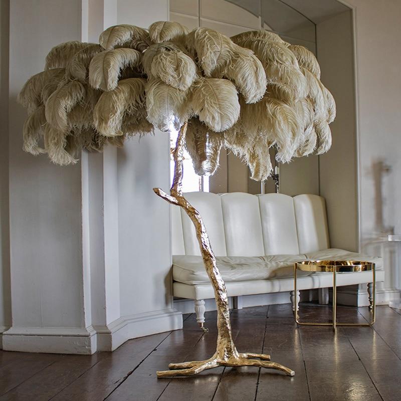 Autruche du nord plume or cuivre laiton résine lampadaire Tripot lampes sur pied pour salon déco salon livraison directe