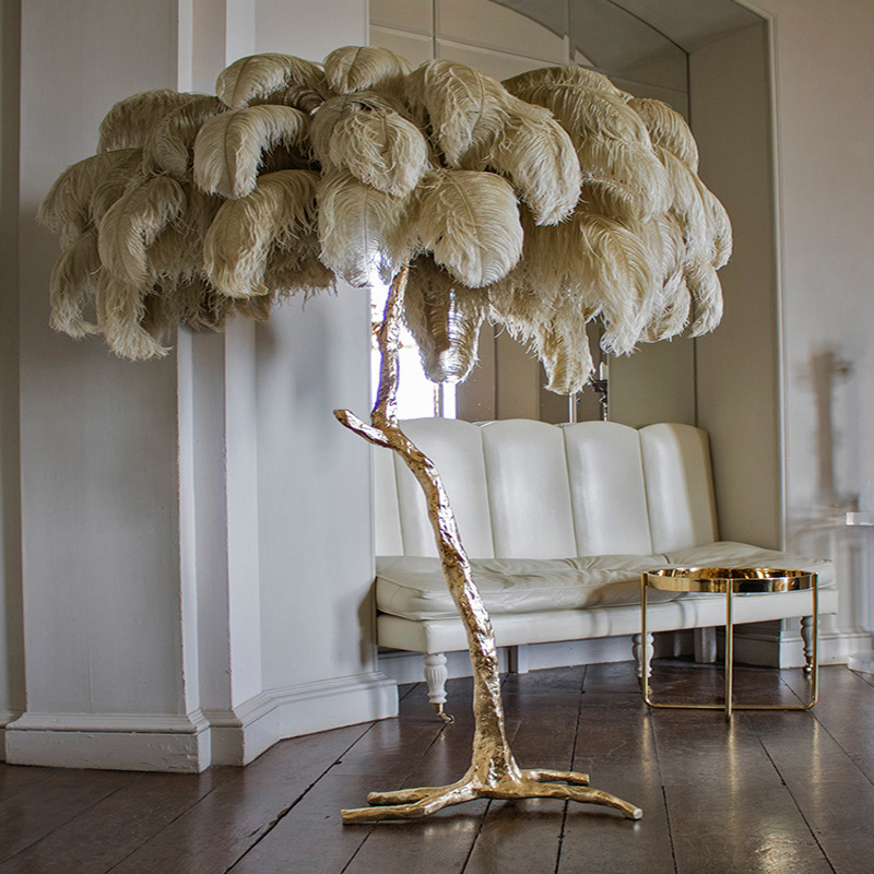Northern Ostrich Feather Gold Copper Brass Resin Floor
