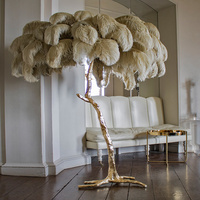 Northern Ostrich Feather Gold Copper Brass Resin Floor Lamp Tripot Standing Lamps For Living Room deco salon Drop ship