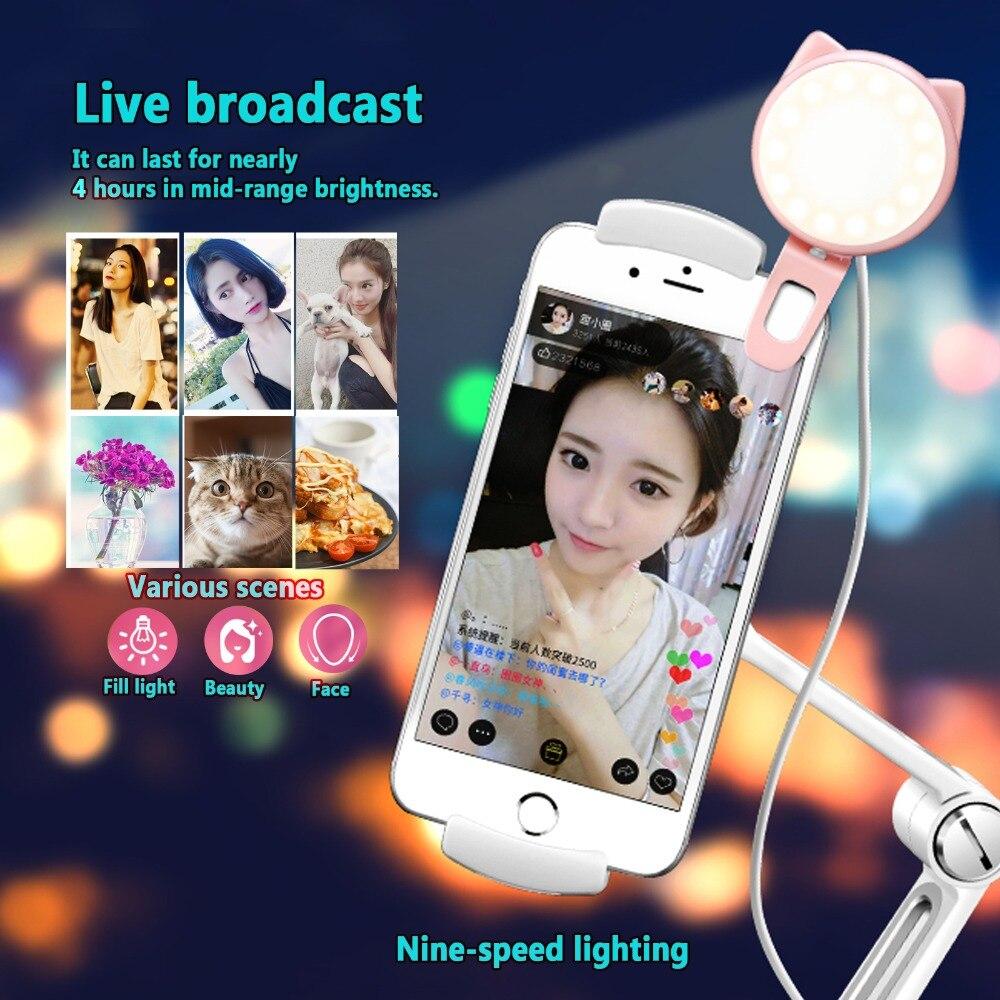 Selfie Light LED Cat Ear Selfie Ring Flash Lens Beauty Fill Light Lamp Portable Clip For Photo Camera For Cell Phone Smartphone