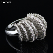 LYCOON 2016 Новые моды преувеличенно большие кольца посеребренные роскошные женщины обручальное Кольцо зубец параметр Кубического Циркония