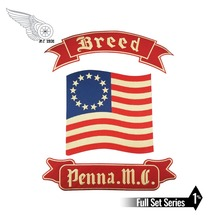 mc1931 Breed Penna. M.C Embroidered Full Back of Jacket Biker Patch Iron On Sew Vest Jeans Applique Badge