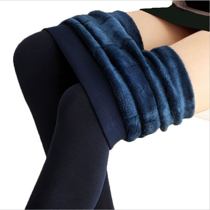 2019 Women's Warm Velvet Trousers Autumn-Winter Big Size Candy Colors Thick Faux Knitted Thicken Slim Stretch Sexy Tights