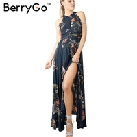 BerryGo Halter Floral Long Dress Women Christmas Chic Backless Evening Party Maxi Dress Hollow Out Sexy