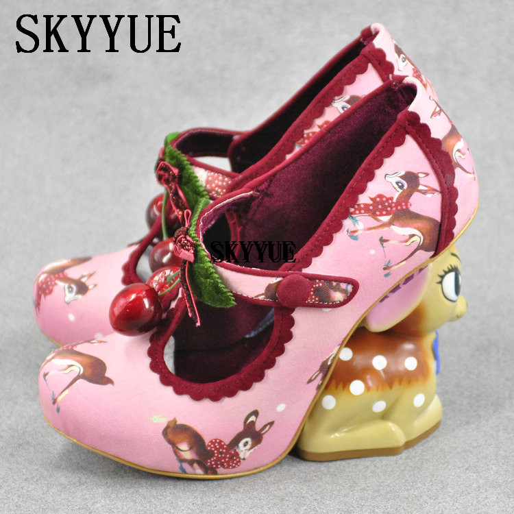 2018 New Pretty Black Deer Print Button Strange Heel Shoes Women Fake Cherry Decorated Cute Deer Shape Heel Pumps Retro Shoes button embellished retro print notch neck tee