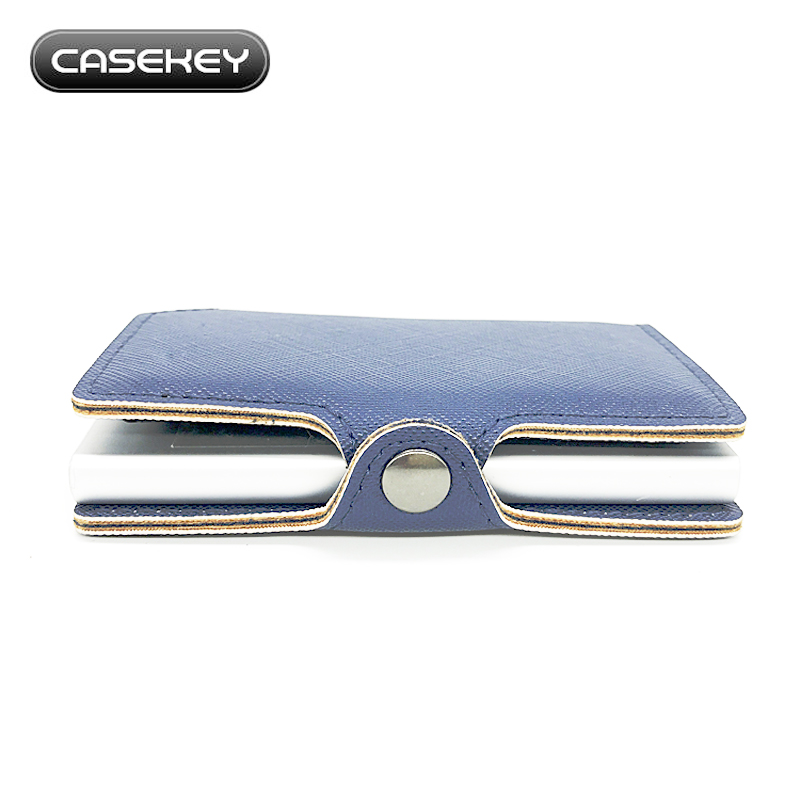 Men Business Card Holder Metal RFID Card Cases Automatical Bank Card Wallets alluminum saffiano leather case women card case