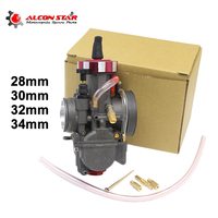 Alconstar Motorcycle 28 30 32 34mm PWK Carburetor Carb with Power jet Universal Used 4T Engine 100 200 300CC Off Road Racing