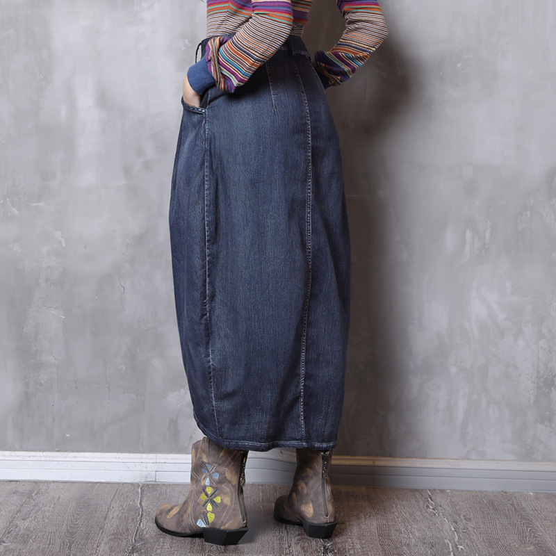 Poche 2018 Hiver Denim Asymétrique Longue Coton Automne Vintage Lady Femmes Jupes Bleu Bouton Jupe nqFWxcfz