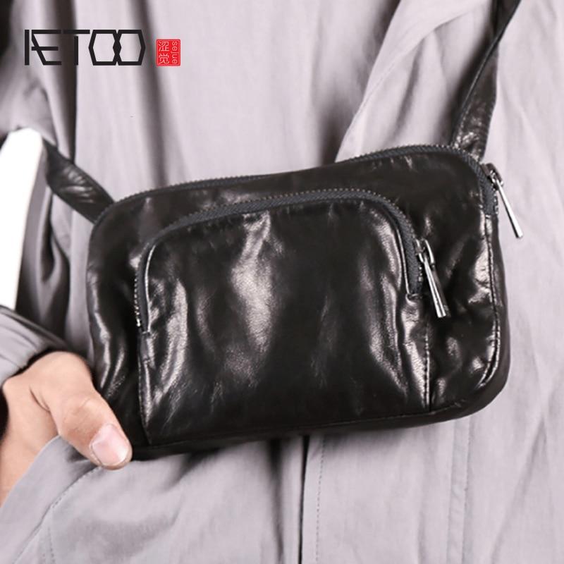 AETOO Leather handmade single shoulder oblique cross casual mini bag goatskin shoulder mobile phone bag male