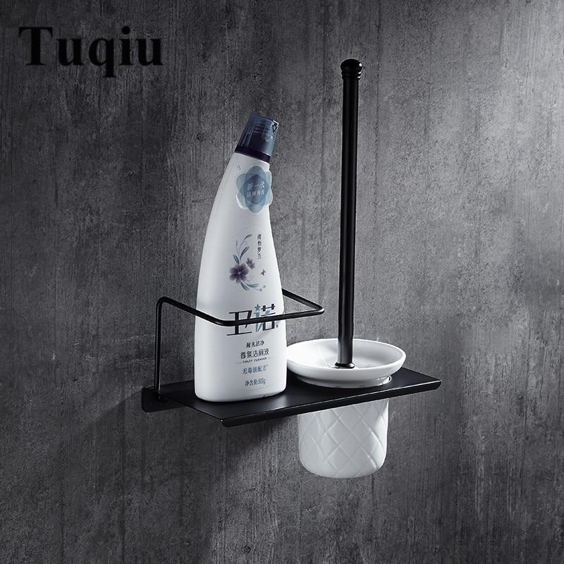 Black Brass Toilet Cleaning Brush Portable Toilet Brush Holder with Shampoo Holder Scrubber Curved Clean Side Corner Brush