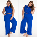 Elegant Office Plus Size 2XL Women Playsuits Fashion White Belted Wide Leg Jumpsuit Rompers Long Macacao Overalls