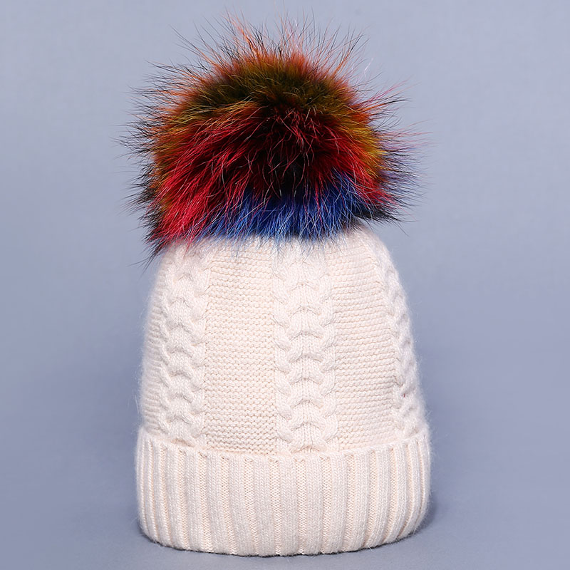 Autumn winter beanies fur Pompom hat unisex knitted wool Skullies casual cap with real 15cm raccoon fox fur pompom Cap autumn winter beanie fur hat knitted wool cap with raccoon fur pompom skullies caps ladies knit winter hats for women beanies