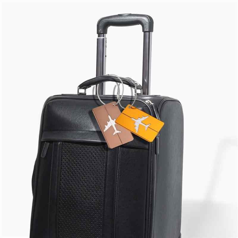 PIXNOX 8 piezas de aluminio patrón de avión equipaje etiqueta bolso de equipaje etiqueta de identificación titular de la tarjeta de nombre con llavero