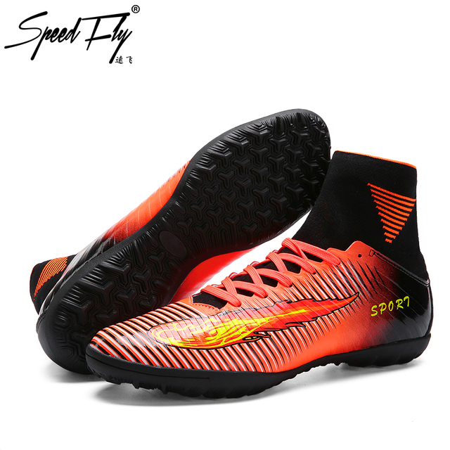 baadb6210 Speedfly New Football Boots TF High Ankle Soccer Shoes Kids Children  Outdoor Futsal Sock Cleats Sport Shoes Sneakers Trainer