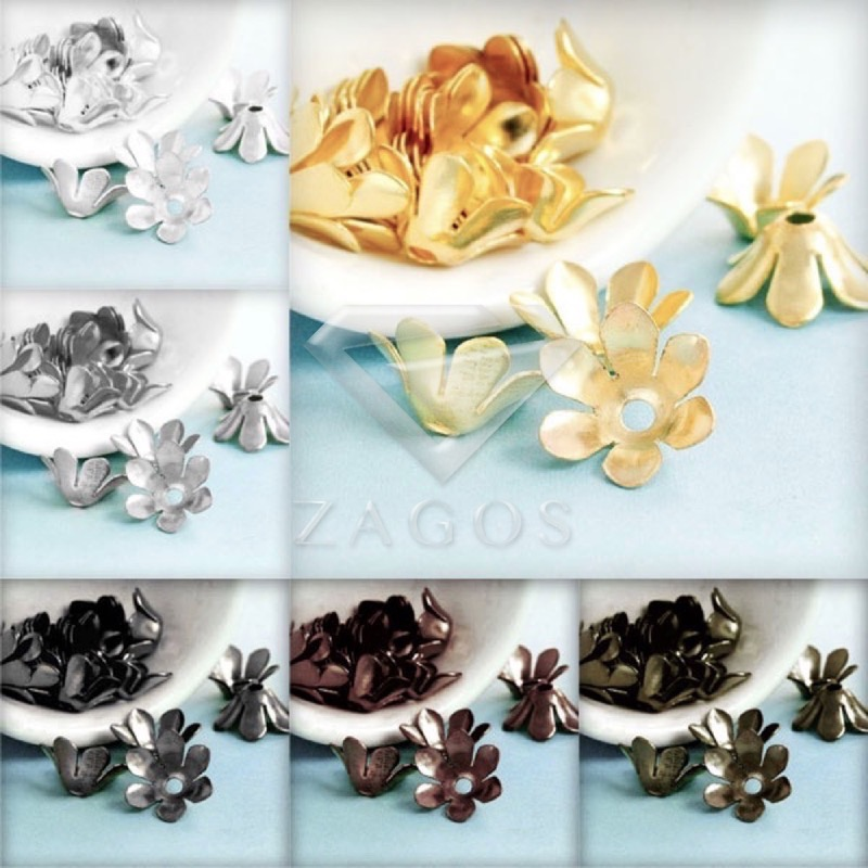 Findings End-Caps Jewelry Flowers Fast-Ship Wholesale 50pcs 13x13x5mm 20g Approx