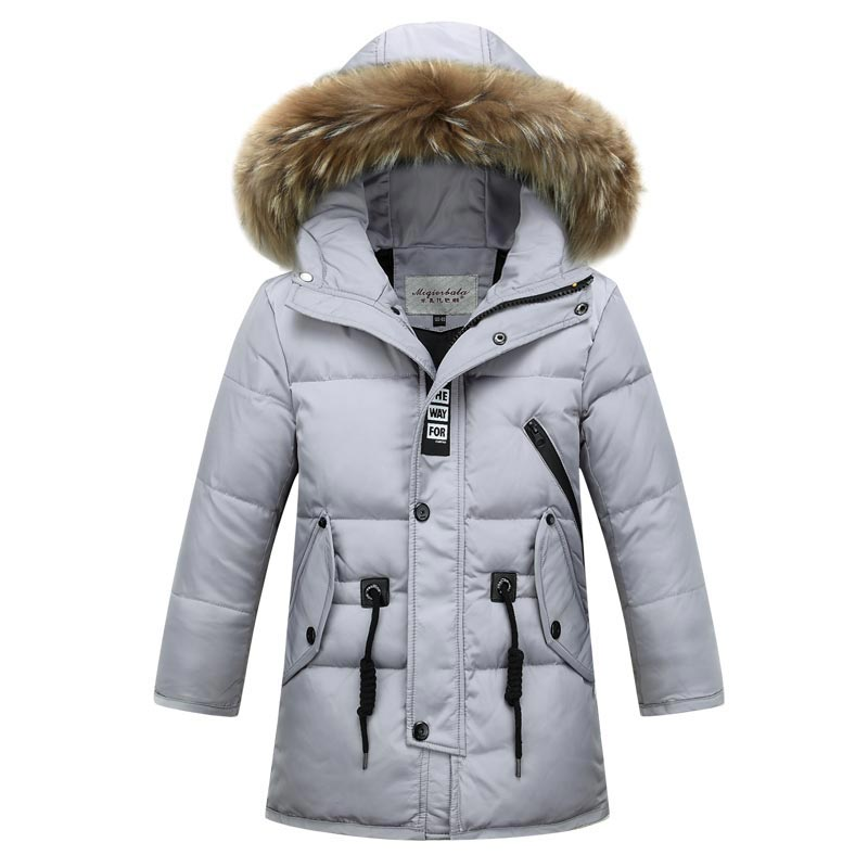 2017 Russia Winter Boys Down Jacket Boy Warm Children Fur Hooded Jackets / Coats Kids Outerwear Fur Collar Big Kids Clothing boys thick down jacket 2018 new winter new children raccoon fur warm coat clothing boys hooded down outerwear 20 30degree