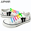 JUP Men Mans Boy Fashion Casual Canvas 3d fox Cats Animal White Cartoon Hand Painted Shoes Graffiti Lazy Shoelace Gift Footwear