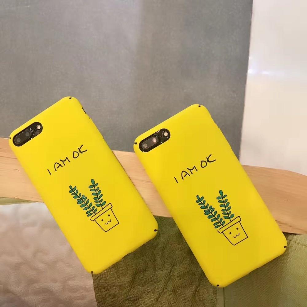 &#171;Я В ПОРЯДКЕ&#187; письмо Печати Матовый Жесткий Корпус Для iPhone 7 Для iPhone 6 6 S 7 Плюс <font><b>5S</b></font> Мобильный Телефон Задняя Крышка Защищает Случаи
