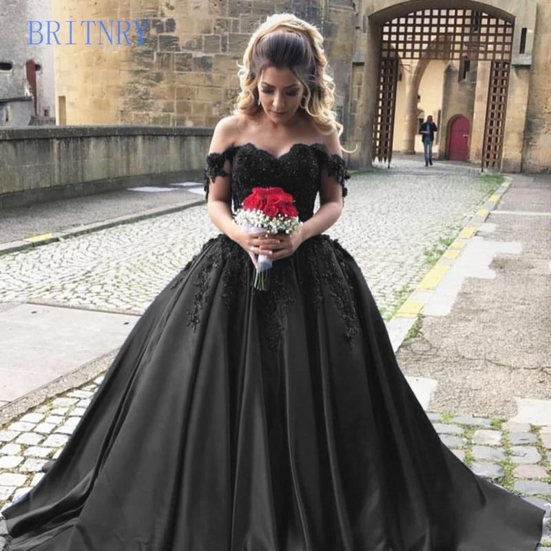 BRITNRY Elegant Lace Women Sweetehart Satin Arabic Princess Black Wedding Dress