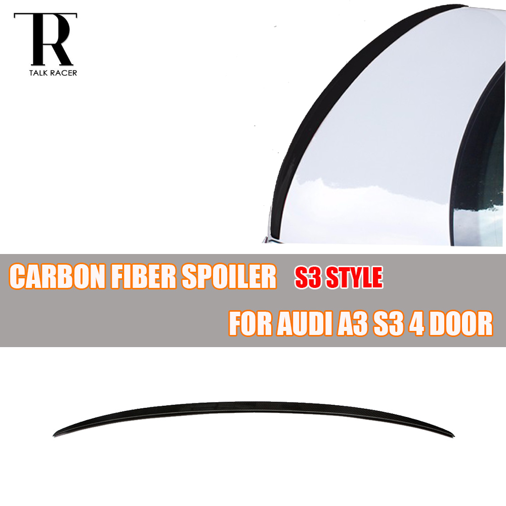 A3 S3 Carbon Fiber Rear Trunk Spoiler for Audi A3 S3 Sedan 4 Door Only 2014 2015 2016 Auto Racing Car Styling Lip Wing S3 Style