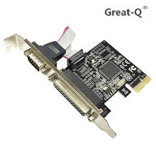 Great Q High Qualtiy Moschip PCI Express 1 Serial And Parallel Port Card RS232 Printer PCIe E Riser