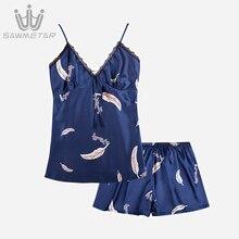 Sexy Pajamas Women Silk Satin Pijama Summer Lace Pyjamas V Neck Sleeveless Sleepwear 2019 New Style Homewear