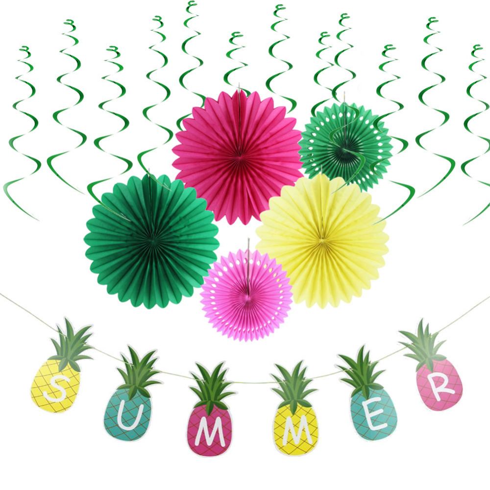 7pcs Summer Party Decoration Hanging Swirl Decorations Tissue Paper