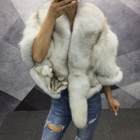 100% women real genuine fox fur shawl elegant female outwear short jackets for winter coat with big natural fox fur collar tails