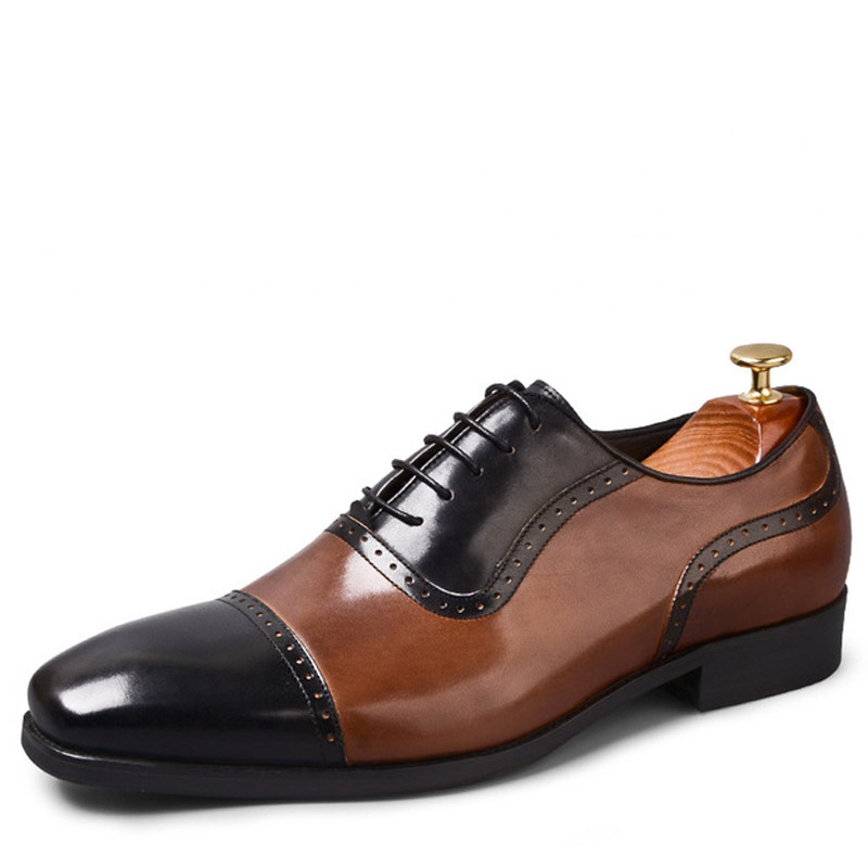 2019 ผู้ชายสบาย lace   up casual รองเท้าผู้ชาย oxfords ยี่ห้อรองเท้าผู้ชายหนังผู้ชายรองเท้า sapatos masculino-ใน ออกซ์ฟอร์ดส จาก รองเท้า บน   1