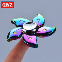 QWZ Meteor Colorful Flower Tri Spinner Sale Kid Gift Hand Spinner For Autism And ADHD Reduce