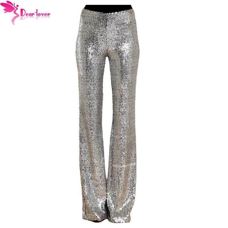 72eb7653 ... Dear Lover Sequin Trousers Women Sparkle Metallic Maxi Ladies Silver  High Waist Long Wide Leg PantsClub ...