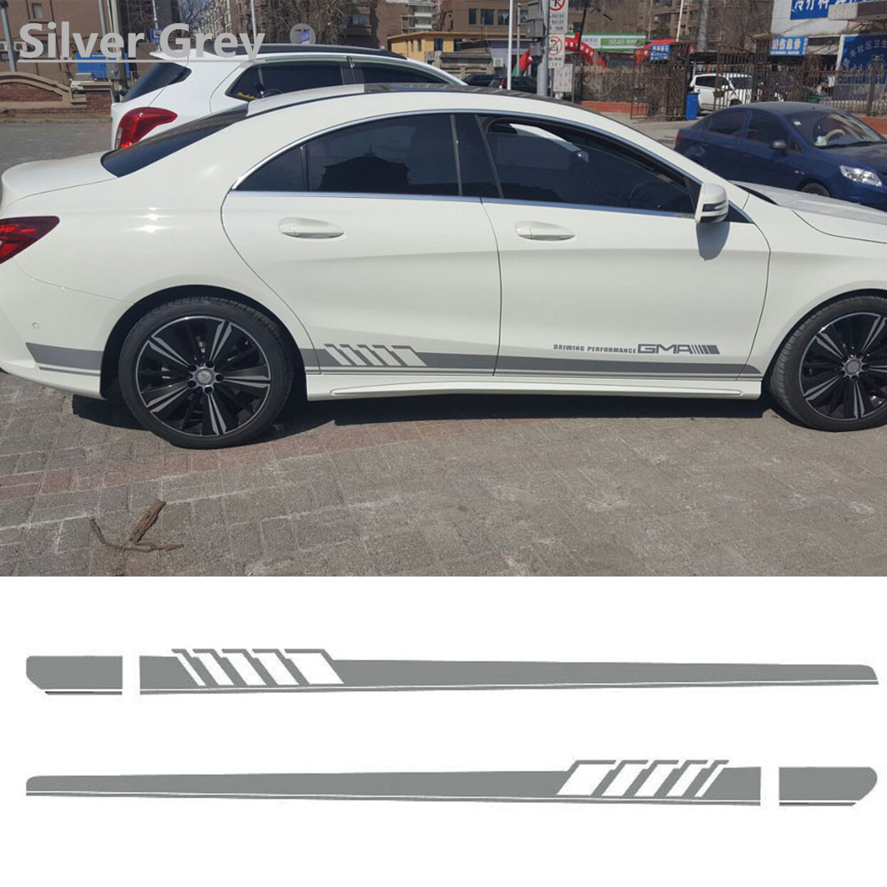 Charming Horse 2168 Store Silver Grey Auto Side Skirt AMG Edition 507 Racing Stripe Side Body Garland Decal Stickers for Mercedes Benz C Class W204