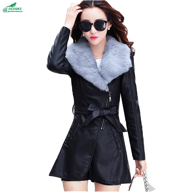 Autumn and winter clothing new thick plus velvet   leather   women large size   leather   coat Korean Slim PU   leather   Outerwear OKXGNZ