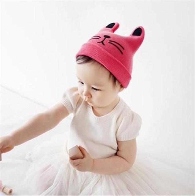 Baby knitting Hat cute cat children hat soft collar autumn winter baby cap Kids boys girls Infant toddler hats caps BCA1019