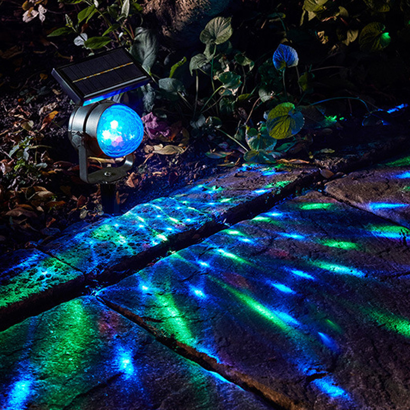 LED Rotate Solar Projector Lawn Lamp IP55 Waterproof 6V Floor Spot Light Garden Outdoor Lighting Decoration Yard Path Landscape high quality led waterproof lawn light with solar panel outdoor courtyard garden floor decoration