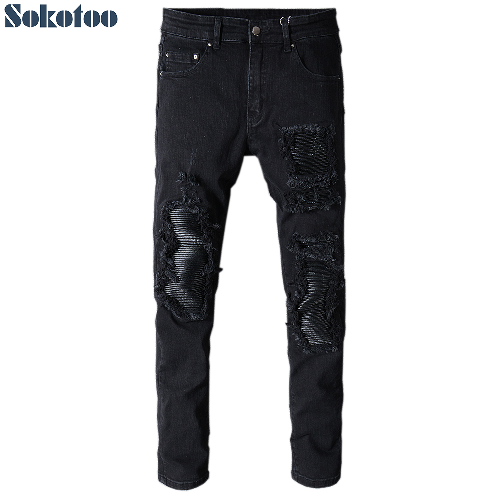 Mens France Style Distressed Moto Pants Biker Jeans Skinny Ripped Slim Fit New