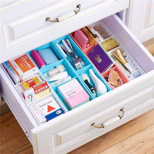 Plastic Desk Organizer Memo Pen Storage Box Case Stationery Drawer Divider Tationery Cosmetic Makeup