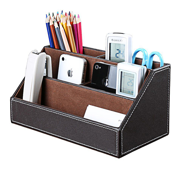PU Leather Desk Stand Skin Care Cosmetic Makeups Organizer Pen Holder Desktop Accessories Storage Grids Container Gifts Box Case