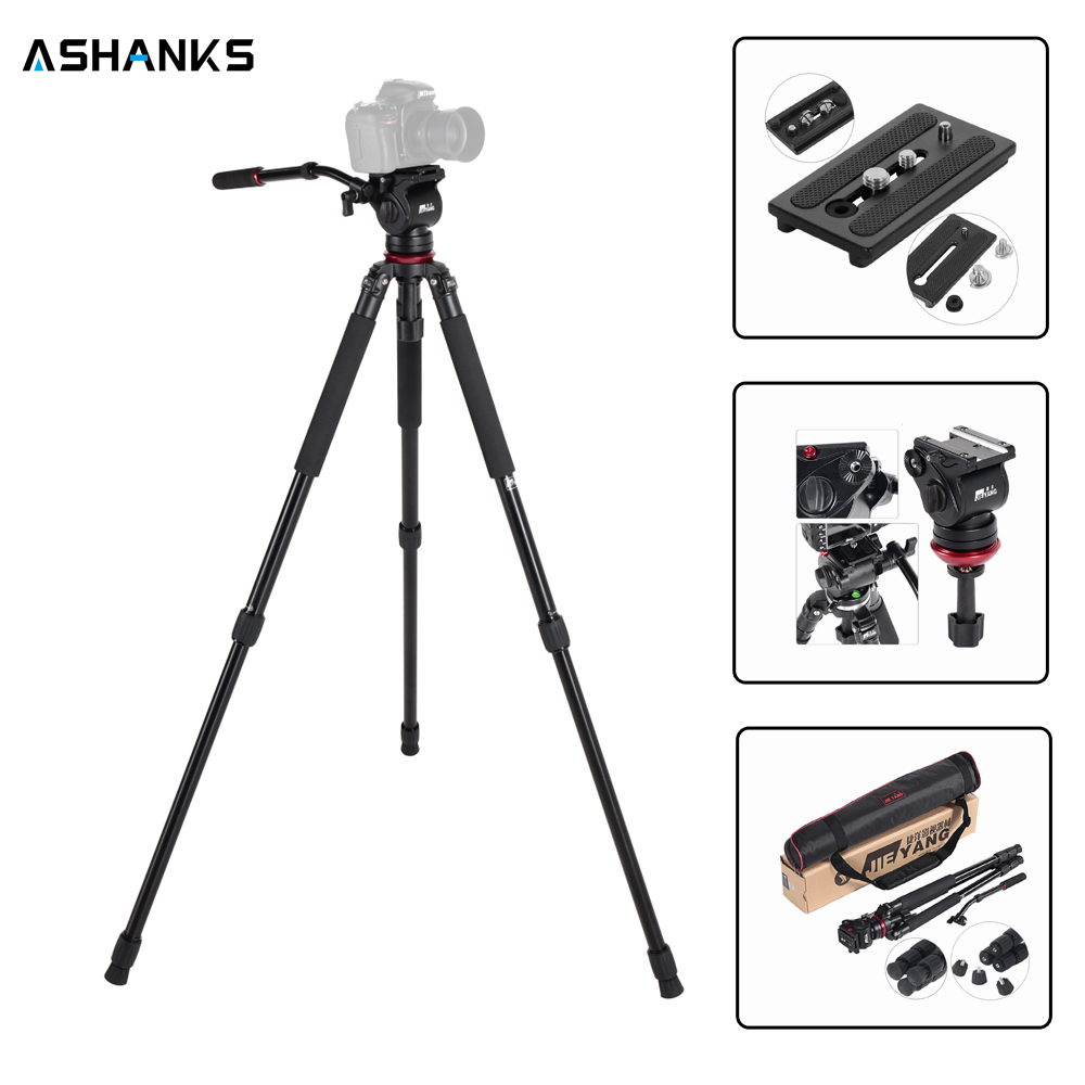 JIEYANG JY0509A JY-0509A Professional Hydraulic Tripod camera tripod/Video Tripod/Dslr VIDEO Tripod Fluid Head Damping for video 360┬░ two handle hydraulic damping three dimensional tripod head for camera black