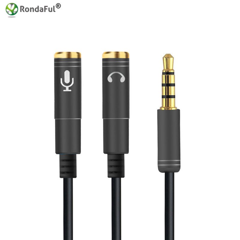 3.5mm Jack Video Audio Cable Headphone+Mic Audio Splitter Male to Female Aux Extension Adapter Cable Cord for Computer PC 17 cm