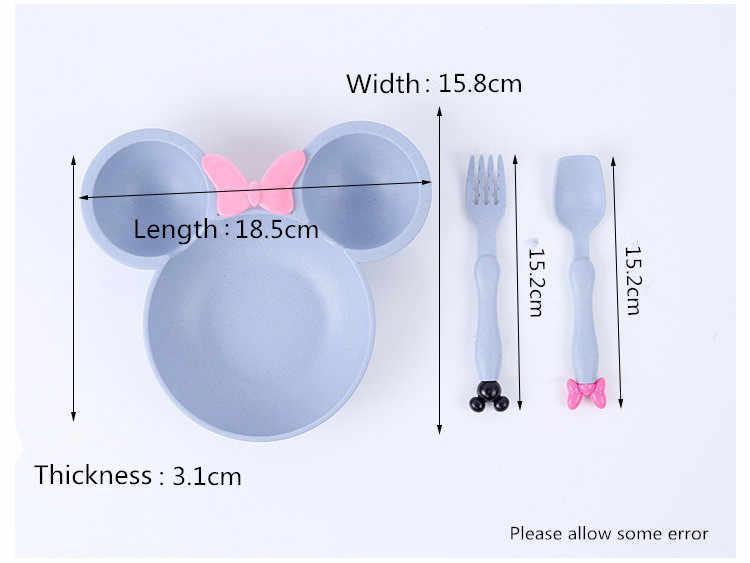 Пшеничная соломенная чаша для ребенка младенческой мультфильм Минни голова бледно-желтая посуда набор дети ужин тарелки для кормления ребенка обучение чаша